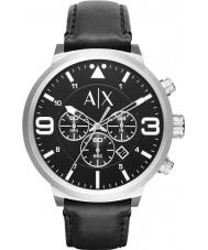 Armani Exchange AX1371 Mens Watch cinturino del cronografo urbano in pelle nera