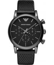 Emporio Armani AR1737 Mens classico cronografo ip orologio cinturino in pelle nera