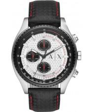 Armani Exchange AX1611 Mens di cuoio nero cinturino del cronografo orologio sportivo