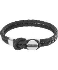 Emporio Armani EGS2178040 cinturino in pelle nera firma Mens