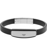 Emporio Armani EGS2186040 cinturino in pelle nera firma Mens