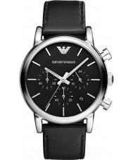 Emporio Armani AR1733 Mens classico cronografo cinturino in pelle nera
