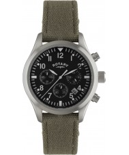 Rotary GS02680-19 Mens Watch cinturino in tela orologi pilota cronografo kaki