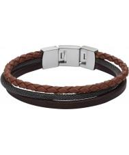 Fossil JF02213040 Uomo sportivo braccialetto cinturino in pelle marrone a più