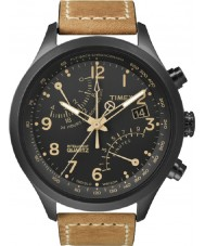 Timex T2N700 Mens orologio cronografo nero marrone fly-back