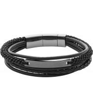 Fossil JF02378793 Mens annata strati braccialetto nero casuale