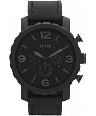 Fossil JR1354 Mens nate orologio cronografo in pelle nera