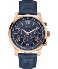 Guess W0380G5 orizzonte Mens orologio cronografo in pelle blu