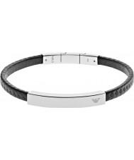 Emporio Armani EGS2063040 firma Mens bracciale in acciaio al carbonio nero