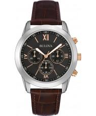 Bulova 98A142 vestito Mens orologio cronografo in pelle marrone