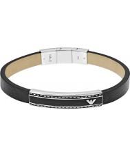 Emporio Armani EGS1923040 firma Mens braccialetto id pelle nera