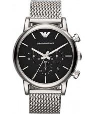Emporio Armani AR1811 Mens classico cronografo nero argento orologio da polso maglia