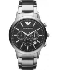 Emporio Armani AR2434 Mens classico cronografo orologio d'argento nero